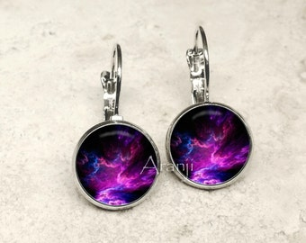 Purple nebula earrings, nebula jewelry, nebula leverback earrings, nebula earrings