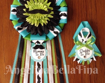 NEW Mustache Mommy & Daddy To Be Corsage Set