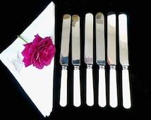 6 dinner knives, bone effect handles, stainless steel blades, Elkington and Co, retro flatware, English cutlery, vintage tableware