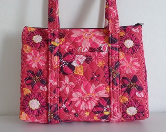 Red Black White Yellow Flowered Print Quilted Purse