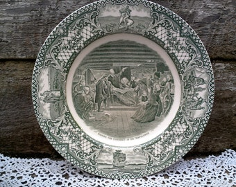"""CROWN DUCAL GREEN Colonial Times Dinner Plate, """"Signing Contract of Mayflower"""", Green Transferware, English Transferware, Wall, Serving"""