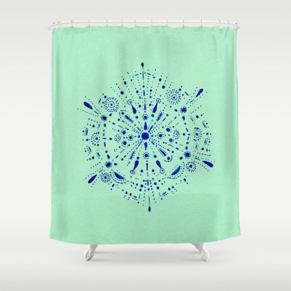 items similar to mint blue shower curtain mint bathroom