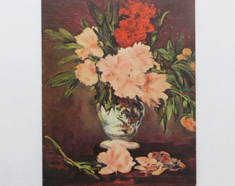 1960's Vase of Peonies Manet Lithograph by Winde Fine Prints No. 330 Size 8x10