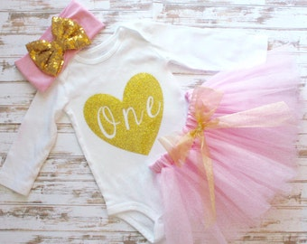 Light Pink Gold Birthday Outfit- First Birthday Tutu