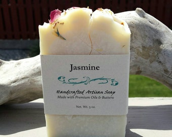 Homemade Soap, Handmade Soap, Gift for Her, Gift for Him, Coconut Oil, Jasmine Scented, Floral Fragrance, Cold Process, White Soap, Soap