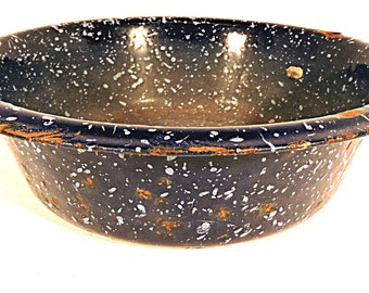Enamel Basin Blue Speckled Rustic Enamelware Indoor Herb Garden Pot