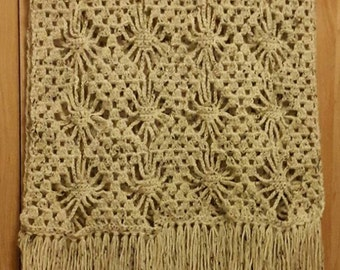 Ecru mohair shawl scarf crochet handmade
