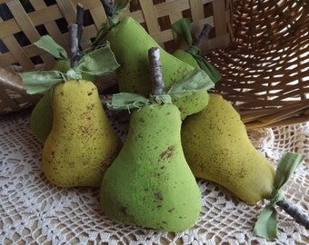 Primitive Farmhouse Home Decor Pear Bowl Filler Rustic Pears Fruit Home Decor