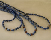 Sold to Jola, three Lapis lazuli necklaces w Thai silver pendant/ brass & golden coral spacers , beaded jewelry , rough lapis jewelry , asym