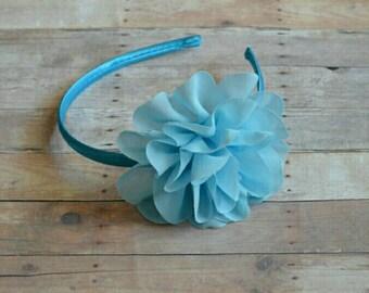 Blue Headband Flower Hard Headband Easter Headband Baby Headband Toddler Headband Flower Girl Spring Summer