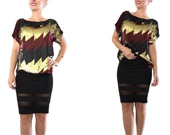 Sequin Blouse/ Sequin Top/ Gold Sequin/ Maroon Sequin/ Black Sequin/ Red Sequin/ Silk/ Fancy Blouse/ Party Top/ Formal Sequin Top/ Vintage