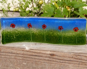 Fused Glass Poppy Wave