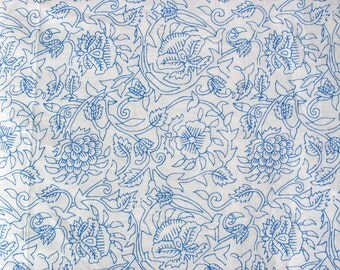 Screen Printed Floral Cotton Fabric Yardage for Apparel, Light curtains