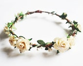 Flower Crown Ivory White Rosette Crown with beautiful berries for wedding or any special day