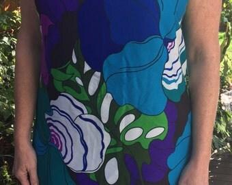 Vintage Hawaiian Sheath Dress, Size Large