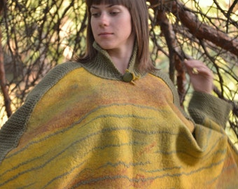 Sweet mustard -felt poncho from natural silk and A-Grade wool (with hand knitted fragments and embroidery) OOAK  Plus Size - ready to ship!