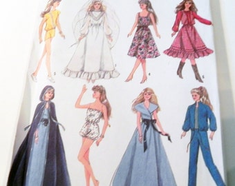 "Fashion Doll 11.5 and 12.5"" Barbie Darci Wardrobe dress Cape swimsuit sewing pattern Simplicity Crafts 8333 UNCUT FF"