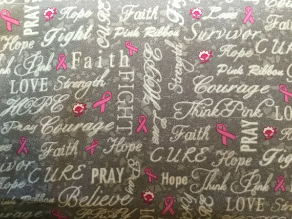 Flannel Breast Cancer Fabric Pink Ribbons Breast