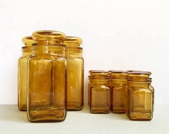 Bormioli Italian glass storage jars - 7 x small [sold separately, large already sold]