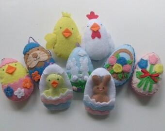 Felt Easter egg, bunny, chicken decoration