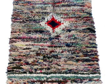 Boucherouite Vintage Moroccan Rug, 6ft 2 by 3ft 3