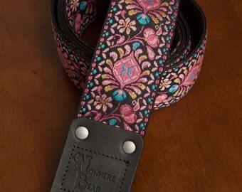 Pink/Black Guitar Strap