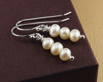 Freshwater pearl earrings pearl earrings white pearl earrings freshwater pearl jewelry pearl drop earrings silver pearl earrings 3 pearls