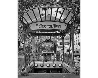 Paris Photography - Paris Metro Abbesses Station - Black and White Fine Art Photography, Large Wall Art - Paris Urban Photography