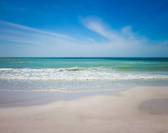 Siesta Key Beach, Teal Blue and Sand, Gulf of Mexico Water Photo, Beach Photography, Beautiful Beach Photo, Large Wall Art