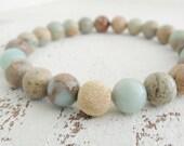 Snakeskin Opal Bracelet Semiprecious Gemstone African Opal Stretch Bracelet Boho Chic Beaded Bracelet Bohemian Style Jewelry Natural Earthy