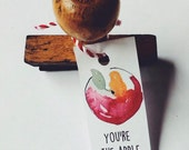 You're the apple of my eyes, French vintage apple rubber stamps,