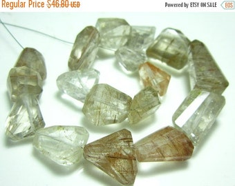 "MEGA SALE Multi Copper Rutilated Quartz Step Cut Big Nuggets- 8"" Strand -Stones measure- 11-20mm"