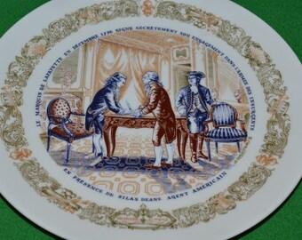 Vintage Collectible LIMOGES  D'Arceau Limoges Lafayette Porcelain China Dish Plate Set 3 Military Revolutionary War