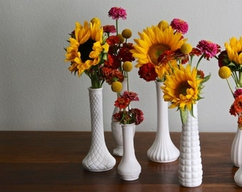Trio of vintage mix and match milk glass bud vases