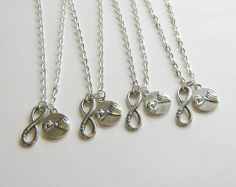 4 Best Friends Necklaces, BFf Infinity And Pinky Promise Necklace, 4 BFF Necklaces, Four Best Friends, 4 Best Friends Jewelry