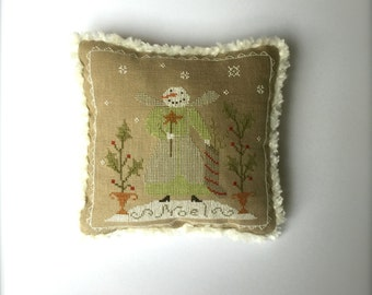 Completed primitive cross stitch Miss Snow Fairy pincushion, Christmas pillow, Christmas gift