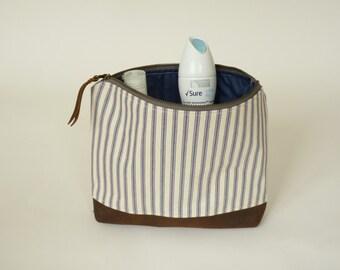 toiletry bag // cosmetic bag // wash bag // womens wash bag // ticking wash bag // leather wash bag