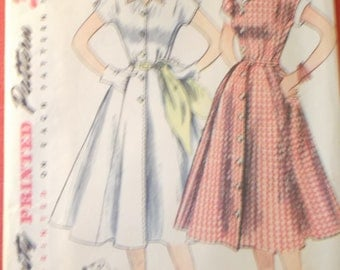 Vintage Size 14.5 Bust 33 1950s Dress Simplicity 3878 Sewing Pattern All 13 pattern pieces