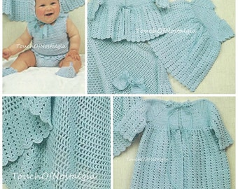 LACY Baby Dress Set Crochet Pattern 9-PieceSet Baby DRESS CarryingCoat Matinee Coat Bonnet Bloomers/DiaperCover LacyROUND Baby Shawl/Blanket