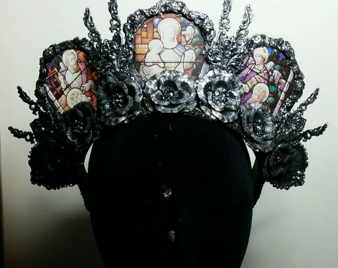 Silver Cathedral Stained Glass Headdress Made to Order