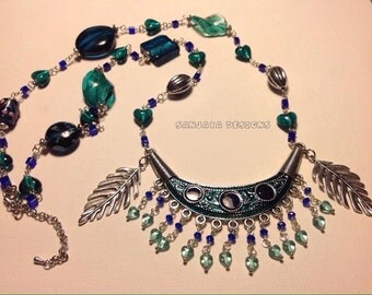 Pretty Glass beaded and Tibetan silver necklace .