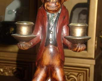 Vintage   Unique Art Candle Holder House keeper Monkey Man
