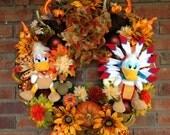 Donald Daisy Duck Wreath, Donald Daisy Duck Fall Wreath, Donald Daisy Duck Disney Wreath, Indian Wreath