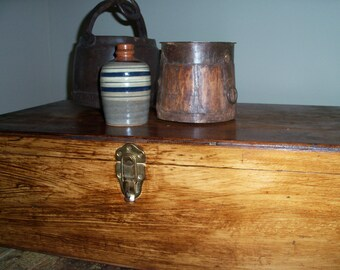 Vintage Wooden Chest Toolbox Box Trunk Display Piece