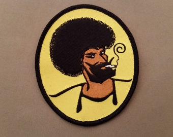 70s black zig zag weed guy embroidered patch