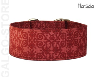 """Sighthound collar """"Marsala"""",  red greyhound collar, martingale dog collar, limited slip, galgo, whippet. wide 1.2"""", 1.6'' or 2"""""""