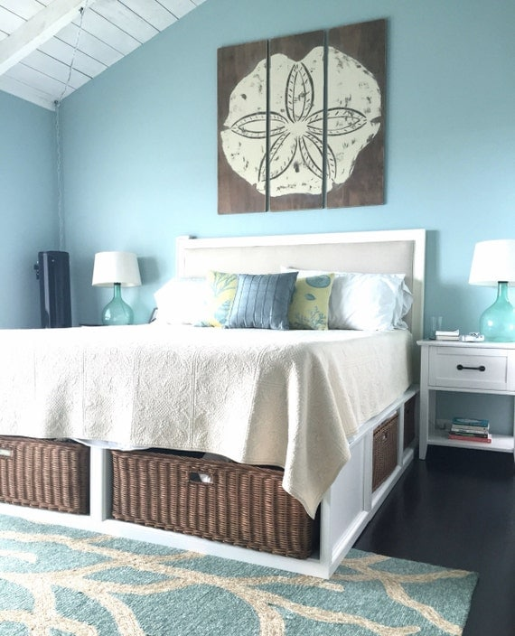 Meet me bye the sea vintage sand dollar Blue beach bedroom ideas