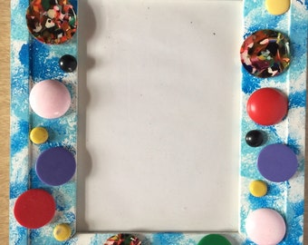 CLEARANCE - Decorated and Embellished Picture Frame - Buttons, Blue, Kid's Room
