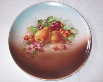 "Antique 10-5/8"" Dresden China (US) Whiteware Coupe Plate FRUIT & Flowers (c. 1908-1915)"