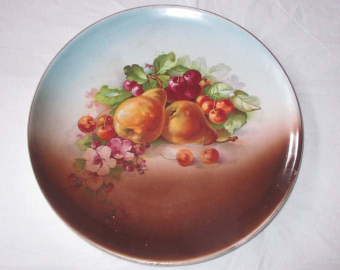 """Antique 10-5/8"""" Dresden China (US) Whiteware Coupe Plate FRUIT & Flowers (c. 1908-1915)"""